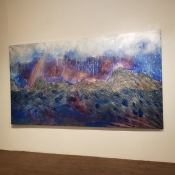 """""""...and the waters receded."""" 15'x 5', acrylic, goldleaf"""